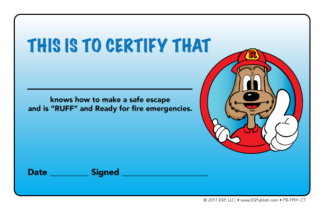 """Red the Fire Dog's """"Ruff and Ready for Fire Emergencies"""" Certificate"""