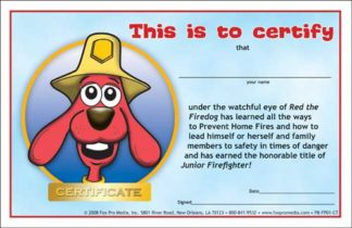 Red's Prevent Home Fires Certificate