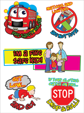 "Stretch the Ladder Truck's ""Fire Safety Rules!"" Removable Tattoo"