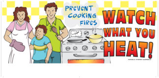 """Prevent Cooking Fires - Watch What You Heat!"" Banner"