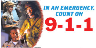 """""""In An Emergency, Count on 9-1-1"""" Banner"""