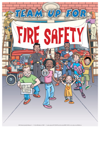 """""""Team Up for Fire Safety"""" Poster"""