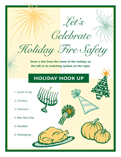 """""""Let's Celebrate Holiday Fire Safety"""" Activity Sheet"""