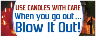 """""""Use Candles with Care. When You Go Out... Blow It Out"""" Banner"""