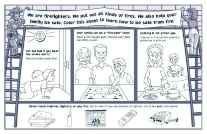 """""""Team Up for Fire Safety"""" Activity and Coloring Sheet for Grades K - 2"""