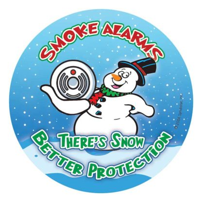 """""""Smoke Alarms, There's Snow Better Protection"""" Holiday Sticker"""