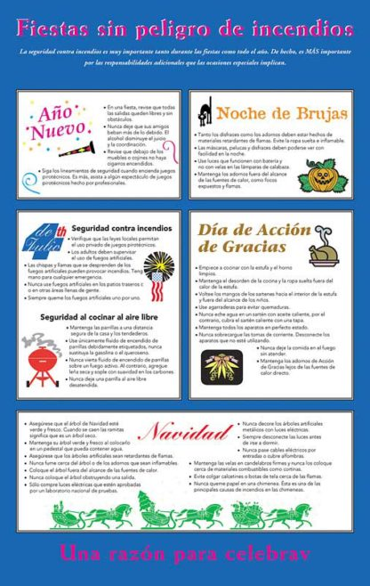 Holiday Fire Safety Pamphlet in Spanish