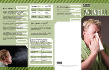 """""""Planning Ahead: Pandemic Flu"""" Pamphlet (page 1)"""