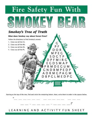 Fire Safety Fun with Smokey Bear Activity Sheet