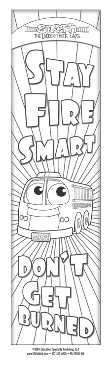 """Stretch's """"Stay Fire Smart - Don't Get Burned!"""" Color Me Bookmark (front)"""