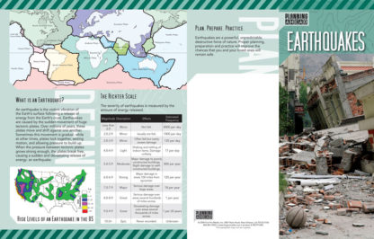 """""""Planning Ahead: Earthquakes"""" Pamphlet (page 1)"""