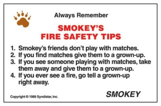 "Smokey Bear's ""Fire Safety Club"" Pledge Card (front)"