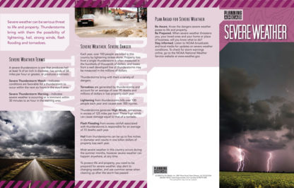 """""""Planning Ahead: Severe Weather"""" Pamphlet (Page 1)"""