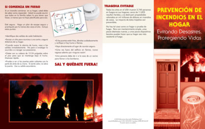 """""""Home Fire Prevention: Avoiding Disaster, Protecting Lives"""" Pamphlet (SPANISH Version) (Page 1)"""