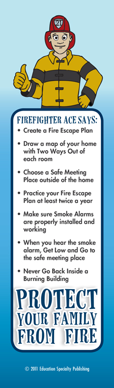 """Ace's """"Protect Your Family From Fire"""" Bookmark"""