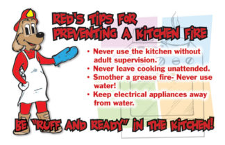 "Red's ""Prevent Kitchen Fires"" Pledge Card (front)"
