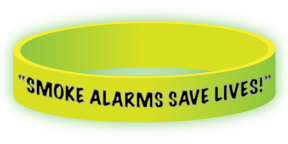 """Smoke Alarms Save Lives! Test Monthly"" Glow-in-the-Dark Wristband"