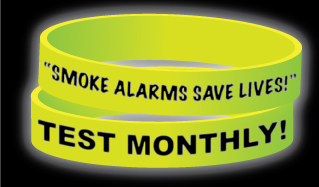 """Smoke Alarms Save Lives! Test Monthly!"" Glow-in-the-Dark Wristband"