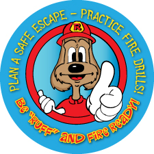 """Red's """"Be Ruff and Fire Ready!"""" Sticker"""