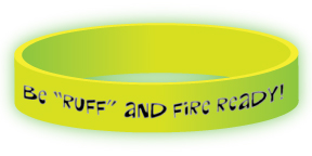 """Red's """"Be Ruff and Fire Ready"""" Glow-in-the-Dark Wristband"""