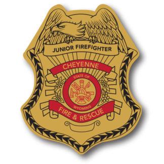 Custom Junior Firefighter Stick-on Foil Badge (Gold)