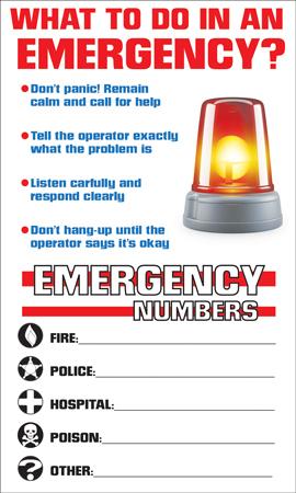 Emergency Phone Number Magnet