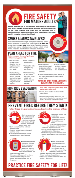 """Fire Safety for Mature Adults"" Presentation display"