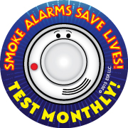 "Alert Bert's ""Smoke Alarms Save Lives! Test Monthly!"" Removable Tattoo"