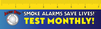 "Alert Bert's ""Smoke Alarms Save Lives!"" Laminated Ruler Bookmark (front)"