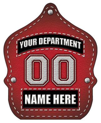 "Custom ""Jr. Firefighter Red Leather"" Fire Hat"