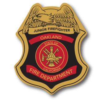 Custom Black Junior Firefighter Stick-on Foil Badge (Gold)
