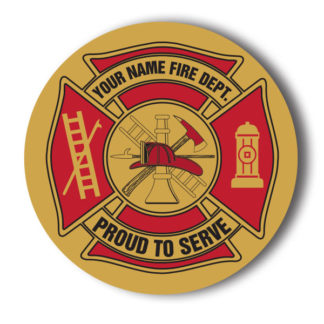Custom Maltese Cross - Proud to Serve Stick-on Foil Badge (Gold)