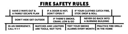 Stretch the Ladder Truck Says Fire Safety Rules! - Laminated Bookmark Back