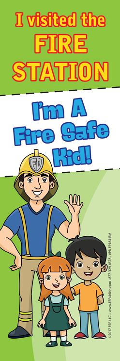 """I Visited the Fire Station - I'm a Fire Safe Kid!"" Bookmark (front)"