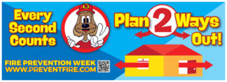 "Red's ""Every Second Counts - Plan 2 Ways Out!"" Banner"