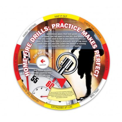 """Home Fire Drills: Practice Makes Perfect"" Information Wheel (front)"