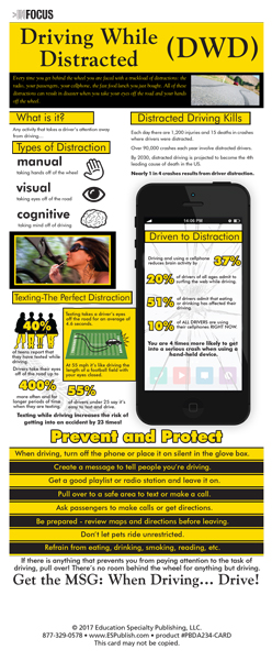 """InFocus: """"Driving While Distracted"""" Presentation Card"""