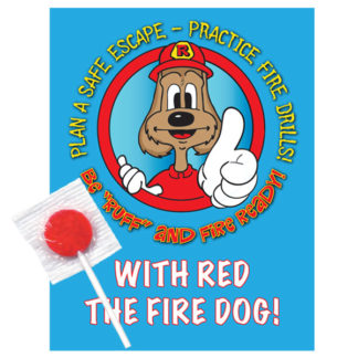 "Red's ""Be 'Ruff' and Fire Ready!"" Lollipop Card (front)"