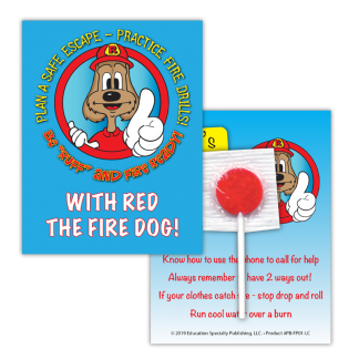 """Red's """"Be 'Ruff' and Fire Ready!"""" Lollipop Card"""