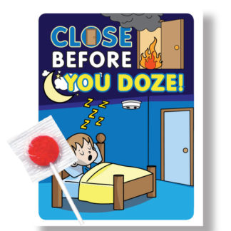 """Close Before You Doze"" Lollipop Card (front)"