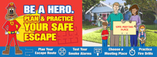 "Red's ""Be A Hero. Plan & Practice Your Escape"" Banner"