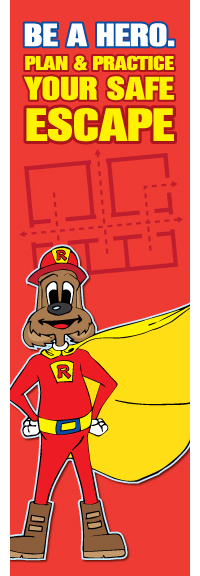 "Red's ""Be A Hero. Plan & Practice Your Safe Escape"" Bookmark (front)"