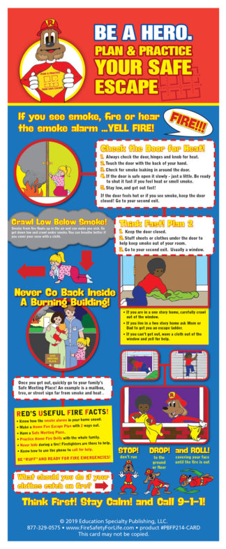 """Red's """"Be A Hero. Plan & Practice Your Escape"""" Presentation Card"""