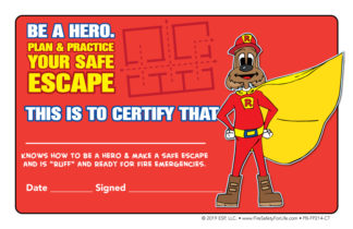 "Red's ""Be A Hero. Plan & Practice Your Safe Escape"" Certificate"