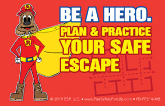 "Red's ""Be A Hero. Plan & Practice Your Safe Escape"" Pledge Card (front)"