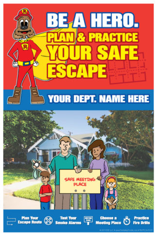 "Red's ""Be A Hero. Plan & Practice Your Safe Escape"" Poster"