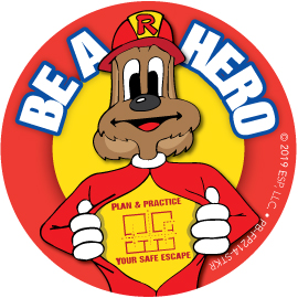"""Red's """"Be A Hero. Plan & Practice Your Safe Escape"""" Sticker"""