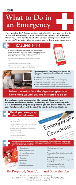 "InFocus: ""What to do in an Emergency"" Presentation Card"