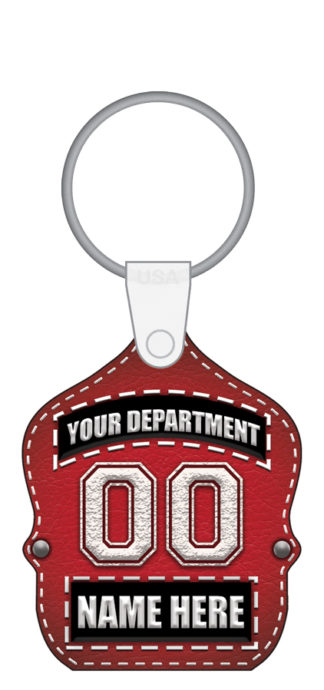 Custom Jr. Firefighter Fire Dept. Shield (Red) Key Tag