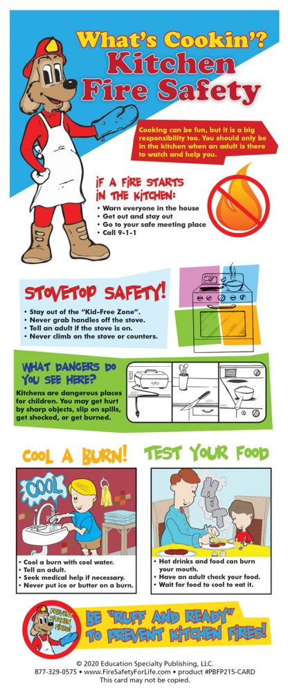 """Red's """"What's Cookin'? Kitchen Fire Safety"""" Presentation Card"""